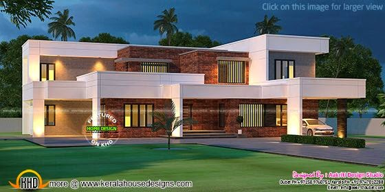 Contemporary house with laterite stone wall