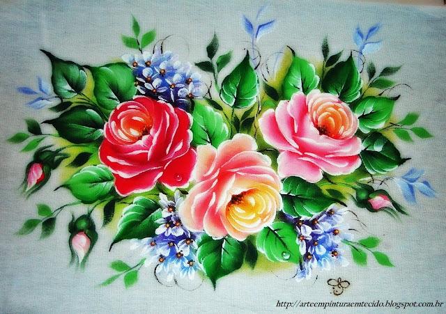 pintura em tecido pano de prato com flores rosas