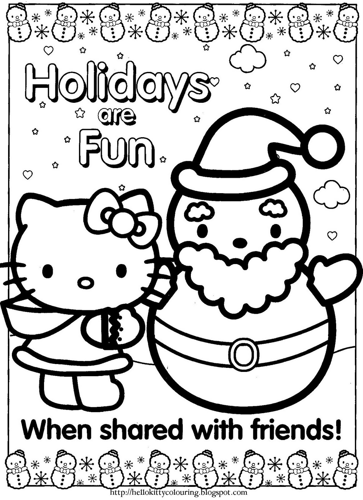 printable hello kitty coloring pages christmas | HELLO KITTY COLORING PAGES