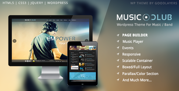 Free Download Music Club V1.06 Music/Band/Club/Party Wordpress Theme