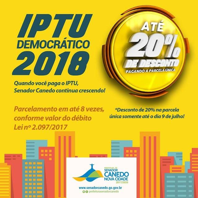 Senador Canedo libera boletos para o pagamento do IPTU/ITU 2018