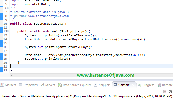 How to subtract X days from a date using Java calendar and