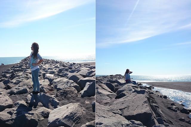 Vik, Islandia, plaża, czarna plaża, ocean, skały, krajobraz