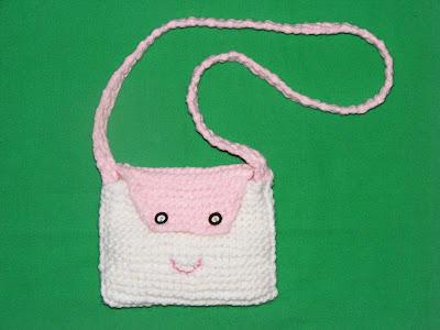 geanta copii cadou Mos Nicolae Mos Craciun tricotata manual handmade