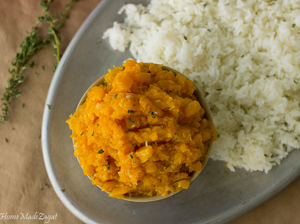 Pumpkin Choka - An easy recipe for seasoned, mashed pumpkin dish, traditionally severed as a side with roti. www.homemadezagat.com