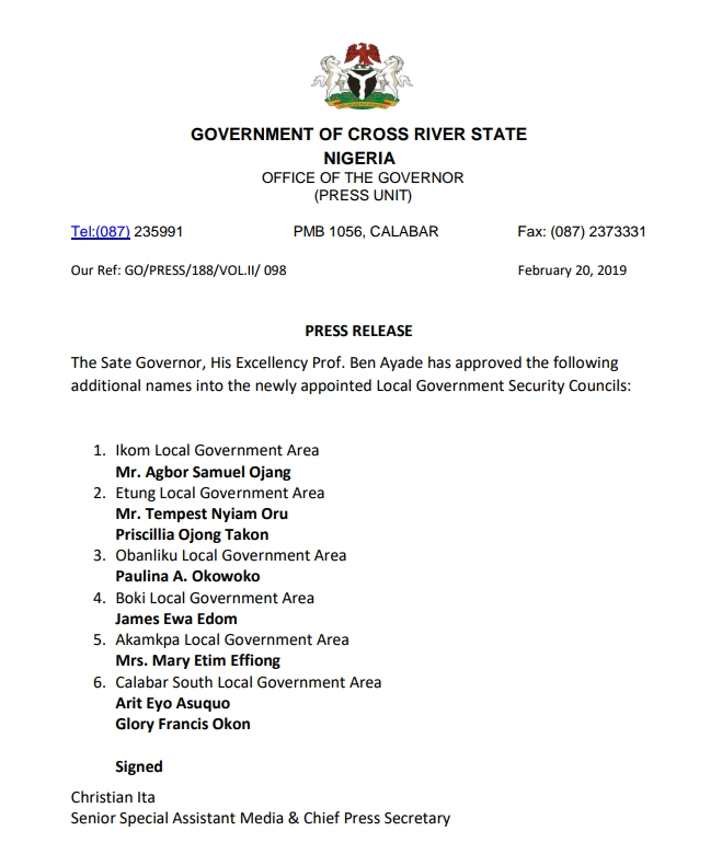 Gov Ayade appoints more persons into Caretaker committee