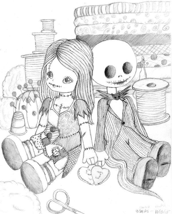 Alyssa's Illustration: Jack and Sally Dolls