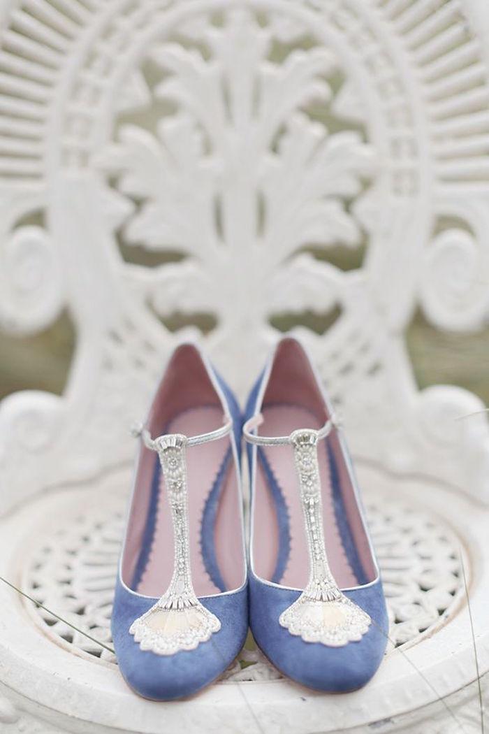 56edb831d00 Standout Blue Suede Wedding Shoes On Vogue