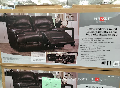 Costco 465212 - Pulaski Furniture Leather Reclining Loveseat - features not 1 but 2 reclining seats