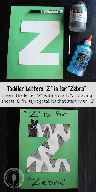 Letter Z Craft - Toddler/Preshooler letter of the week craft Z is for Zebra with related craft, tracing sheets and fruits/vegetables.