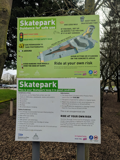 Preston Park - Behind the Seams | 10 reasons to visit with tweens and teens  - skatepark rules