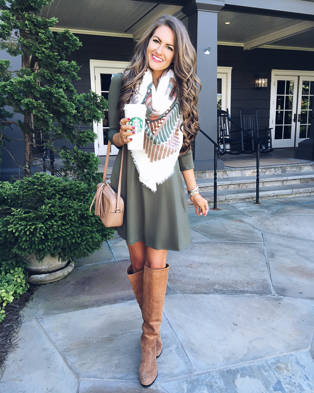 Outfit idea for fall - swing dress, blanket scarf and over-the-knee boots