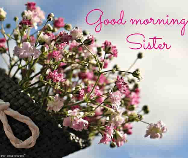 good morning sister with a bouquet