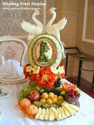 fruit carving arrangement for wedding