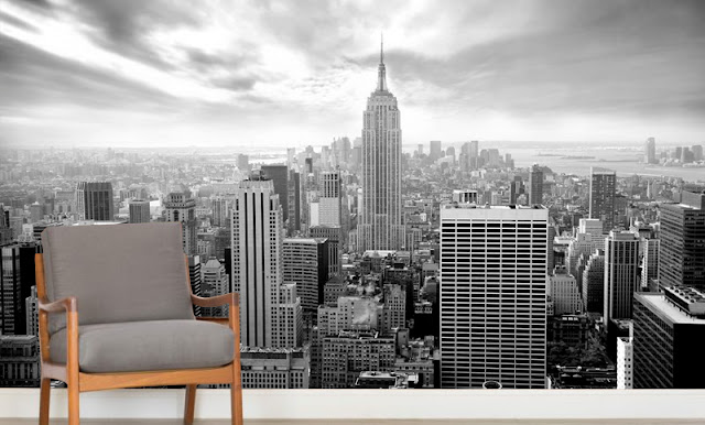 Kaupunki Tapetti  Maisematapetti Mustavalkoinen New York Tapetti Skyline