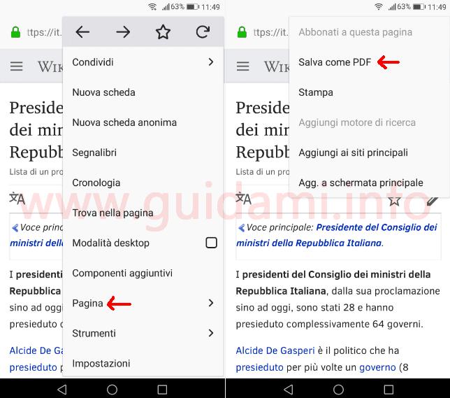 Firefox mobile come salvare articolo Wikipedia in PDF