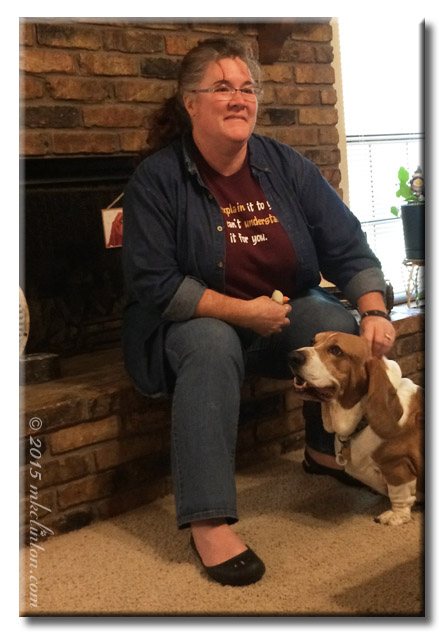 Woman and Basset Hound
