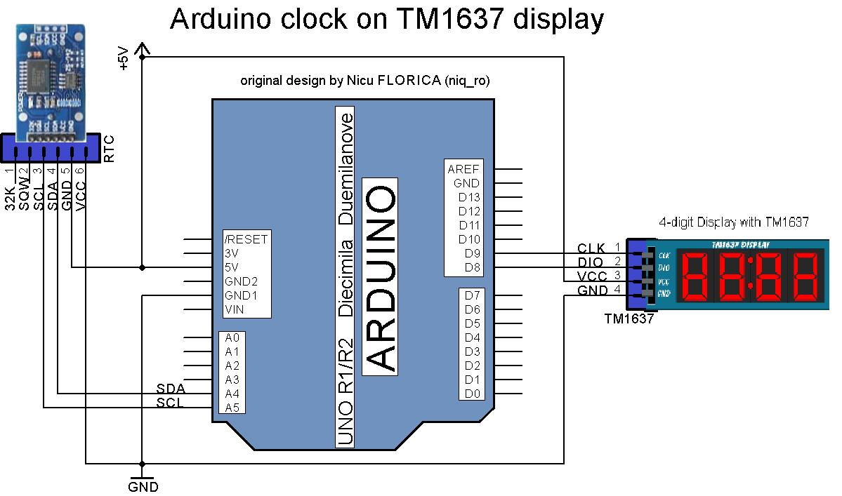 Arduino tehniq clock on tm display