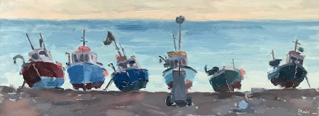 #258 'Dusk, Beer Fishing Boats' 15x45cm