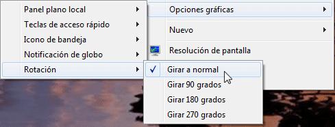 Clic en Opciones gráficas - Rotación - Girar a normal