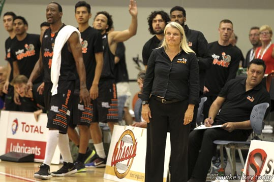 Kirstin Daly-Taylor, head coach, Bay Hawks - Nelson Giants beat Bay Hawks 91-80 - Basketball at Pettigrew.Green Arena, Taradale, Napier. photograph
