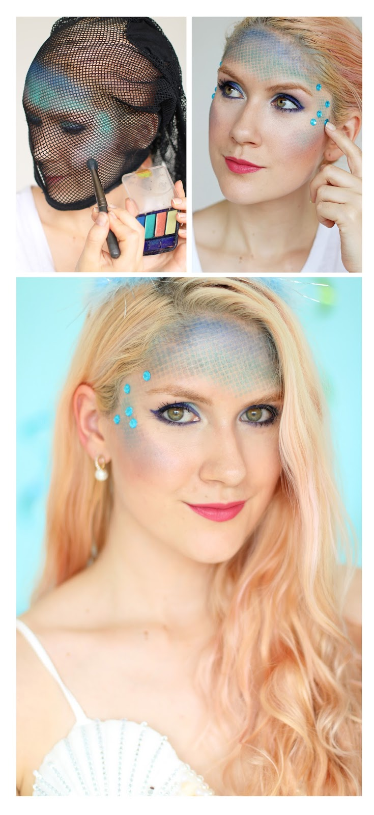Easy Mermaid Makeup. Click through for the full costume tutorial