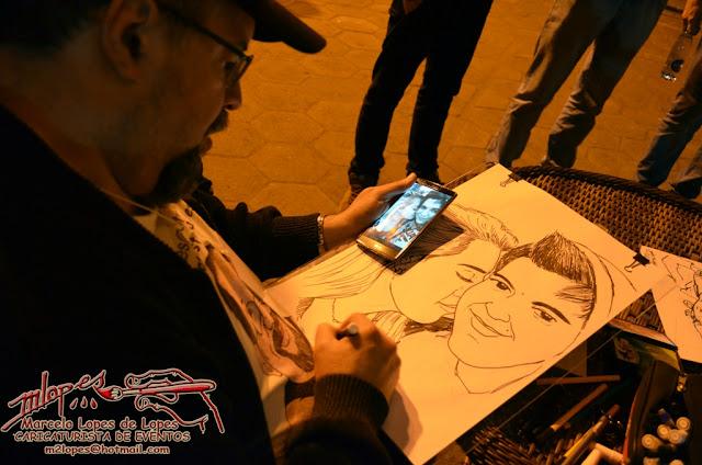 Caricatura realizada ao vivo com base numa foto de celular