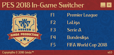 PES 2018 Scoreboards InGame Switcher v1.0 by Ginda