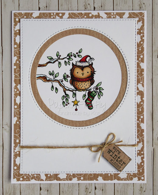 Cute Christmas card using Woodland scenes owl stamp by LOTV