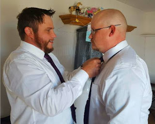 our sons Tim and Randy with Tim tying Randy's necktie