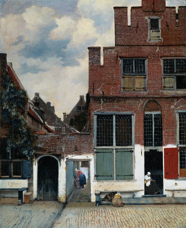 Johannes Vermeer, painting, malerei, bild, poetische Art, die kleine strasse, vergangenheit, ruhe, frieden, die zeit, das leben, spuren