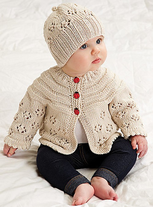 Easy Lace Raglan Jacket & Hat - Free Pattern