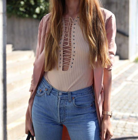 Josefin Ekstroms - Blush Pink Lace Up Body
