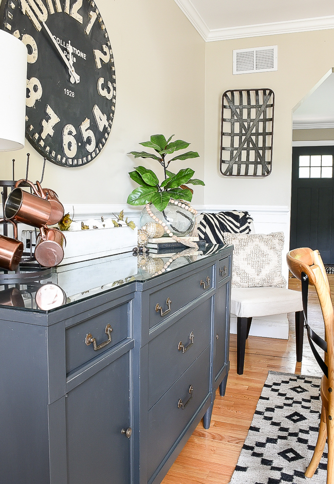 Dining room decorated with Dollar tree fall decor