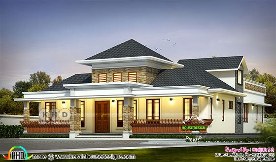 single storied sloping roof house