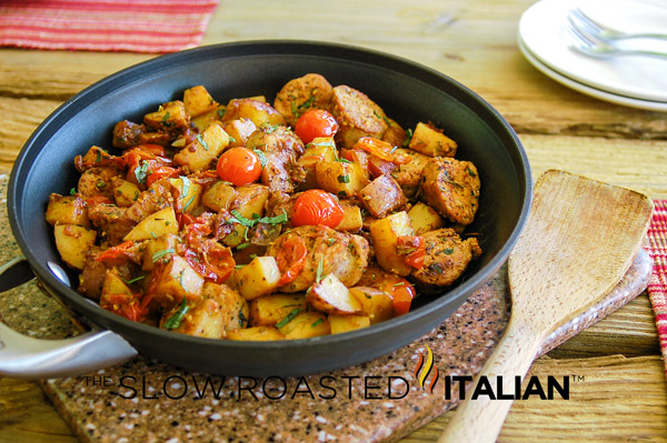 Hearty Italian Sausage and Potato One Skillet Meal is made with all ...