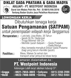 PT.WESTPOINT SECURITY INDONESIA Lowongan Kerja SATPAM di Lampung April 2018