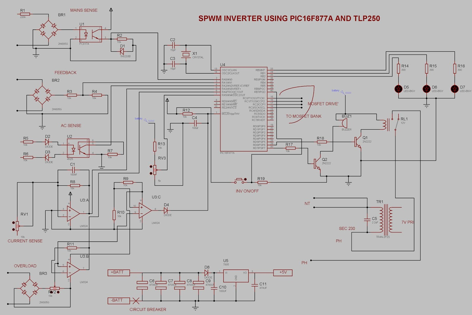 Pure Sinewave Inverter Sl Technological Services Sine Wave Circuit Diagram In Addition That Modified Is Produced At The Output Of High Voltage Step Up Transformer Pic16f877a Microcontroller Used To Generate Control Signal