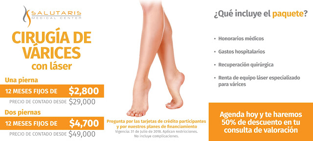 Paquete Cirugia Varices con Laser Safenectomia Guadalajara Mexico