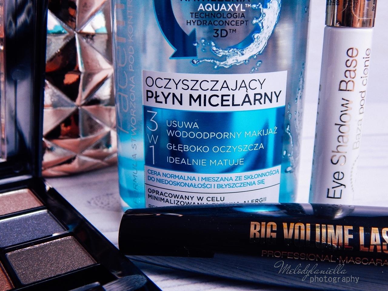 9 eveline cosmetics nude all in one eyeshadow palette melodylaniella recenzja cienie do powiek paletka cieni mascara big volume lash eye shadow base baza pod cienie oczyszczający płyn micelarny test