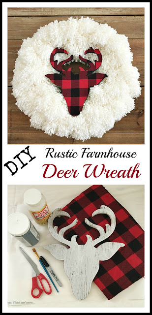 Vintage, Paint and more...a DIY Farmhouse Christmas Wreath done by tying yarn pom poms on a wire wreath form and then adding a wood deer head silhouette decoupaged with red and black buffalo plaid flannel.  The perfect rustic  wreath to add to your farmhouse decor this season.