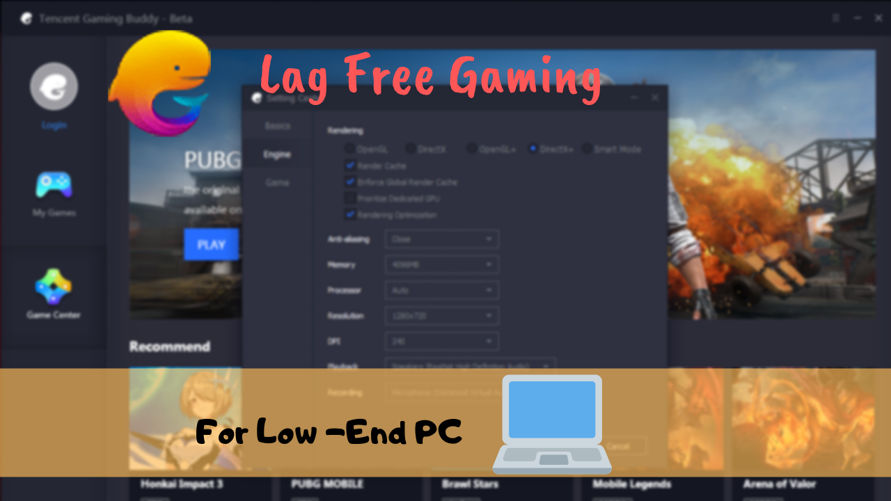 Tencent Gaming Buddy Settings Explained for Low End PC | LAG