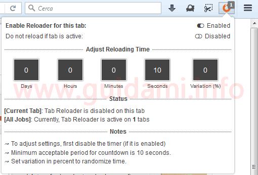 Pulsante Tab Reloader estensione per Firefox