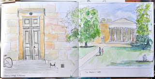 Ink and watercolour sketching at Downing College Cambridge