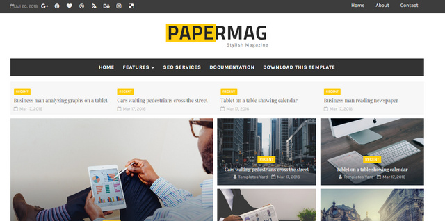 Papermag Stylish Magazine Responsive Blogger Templates