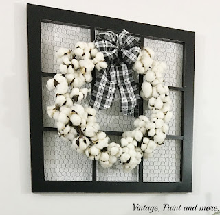 Vintage, Paint and more... a cotton wreath made by wrapping a cotton garland in a circle and adding a ribbon bow, hanging on a chicken wire window frame