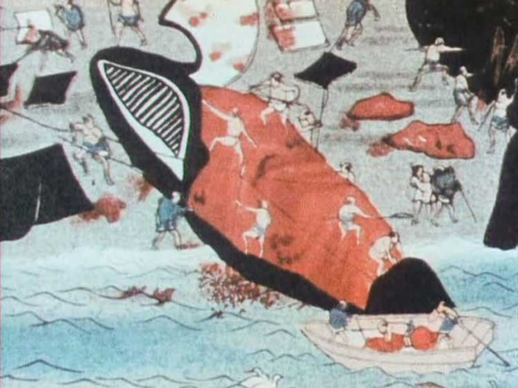 A painting from Chris Marker's 1972 short film Three Cheers for the Whale