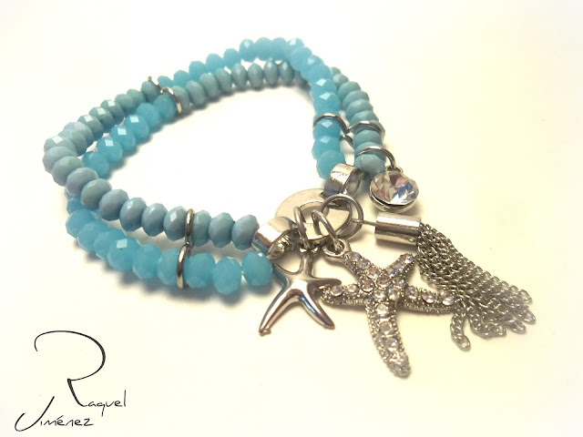 pulsera azul con estrella de mar