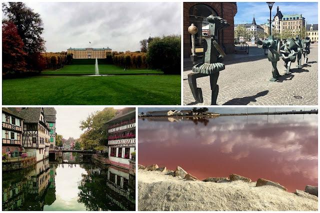Collage de fotos de Dinamarca, Suecia, Francia y España