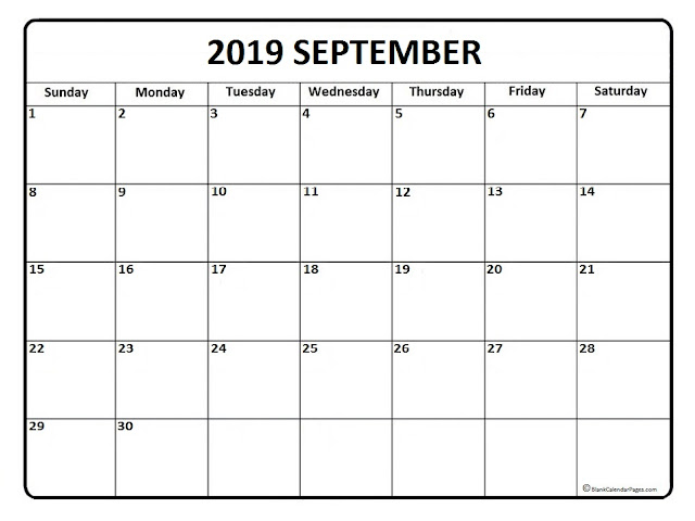 September 2019 Calendar, Free September 2019 Calendar, September 2019 Calendar Printable, September 2019 Calendar Template, September Calendar 2019, September 2019 Calendar Wallpaper